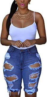 Women's Ripped Denim Destroyed Mid Rise Stretchy Bermuda...