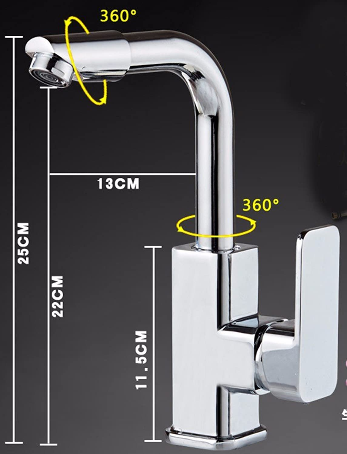Hlluya Professional Sink Mixer Tap Kitchen Faucet Copper, hot and cold water, washing your face, 2