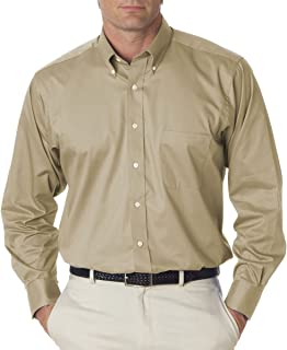 Men's Long Sleeve Dress Twill Shirt, Khaki, Large