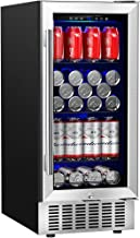 Aobosi 15'' Beverage Cooler, 94 Cans Freestanding or Built-in Beverage Refrigerator with Advanced Cooling System, Blue Interior Light, Quiet and Constant Temperature - for Beer, Soda, Water or Wine