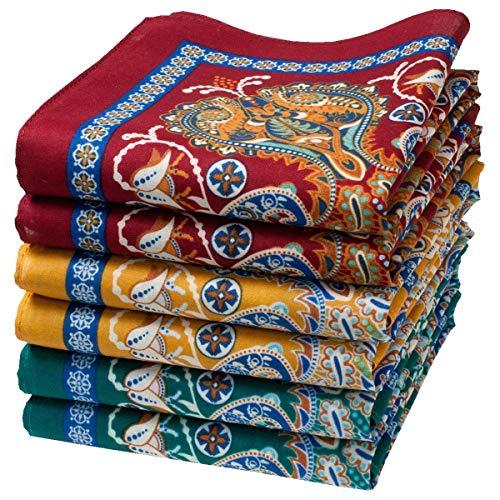 Merrysquare - Fina orientaliska mönster näsdukar - Samarkand-modell - genomsnittlig storlek 35 cm x 35 cm - 6 delar - 100 % bomull