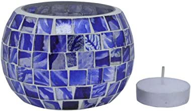 Lalhaveli Living Room Decor Table Top Decorations Blue Mosaic Glass Round Tea Light Candle Holder 3 x 3 Inch