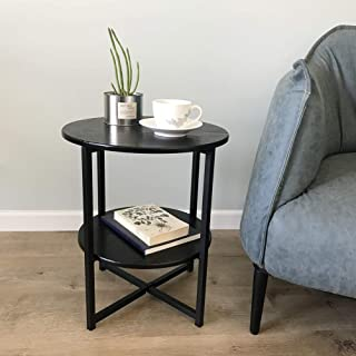 Black Nightstand Small Round Side Table Wood End Table for Living Room