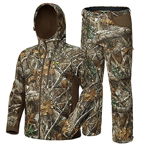 TIDEWE Hunting Clothes for Men with Fleece Lining, Safety Strap Compatible Water Resistant Silent Jacket and Pants, Hunting Suit for Climbing Hiking Trekking Camping (Realtree Edge Camo Size L)
