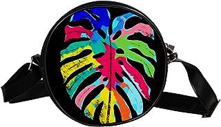 Coosun Schultertasche mit Blättern, tropische Farben, Naturblätter, runde Umhängetasche für Kinder und Damen