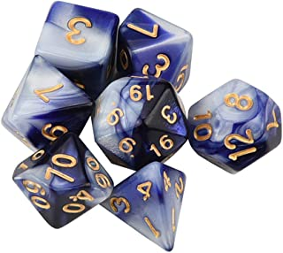 Auwer 7 PCS Dungeon and Dragons Dice, DND Dice, Double-Colors Polyhedral Dice for DND RPG MTG Table Games