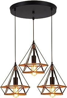 Lámpara de Techo 3 Pantallas Disco Vintage Industial Diamante Cuerda de cáñamo Pirámide Cage Pájaro Jaula Luz Colgante de Hierro Restaurante Bar Pasillo