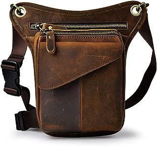 Men's Single Shoulder Diagonal Pockets, Top Layer Leather Fashion Phone Camera Outdoor Pockets, Multi-function Retro Messenger Bag