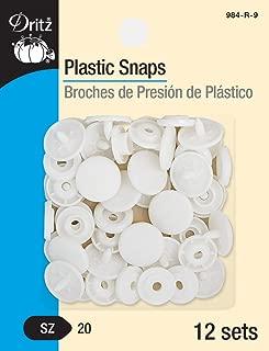 Dritz 984-R-9 Plastic Snaps, Round, White, Size 20 12-Count