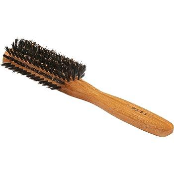 Bass Brushes   Shine & Condition Hair Brush   100% Premium Natural Bristle FIRM   Pure Bamboo Handle   Classic Half Round Style   Dark Finish   Model 206 - DB
