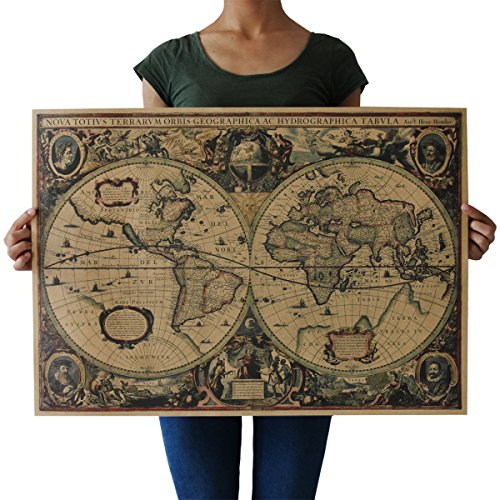 Souarts Retro Landkarte Fotoposter Wanddeko Bild Zimmer Büro Deko Illustrierte