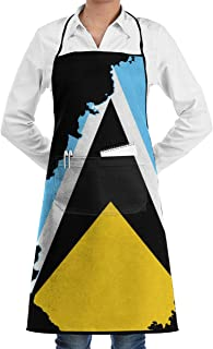Map of St Lucia and St Lucian Flag Apron Lace Unisex Mens Womens Chef Adjustable Polyester Long Full Black Cooking Kitchen Aprons Bib with Pockets for Restaurant Baking Crafting Gardening