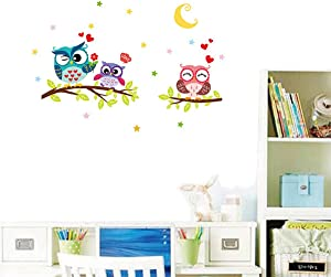Colorful Cute Owl Family Wall Decal Owl Family on The Tree at Night Wall Art Stickers, Peel and Stick Removable Owl Animal Wall Print Stickers Pictures Mural for Kids Nursery Bedroom