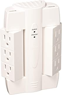 6-Outlet Swivel Space Saving 2 USB Port Surge Protector Wall Tap, Android, iPad, iPhone, iPod Compatible, 2100 Joules, 2.1 AMP Charge, White Finish,7791301