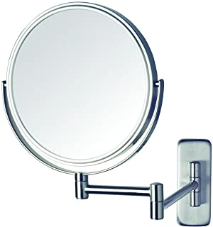 "Jerdon JP7506N 8"" Diameter Wall Mount Mirror, Nickel"
