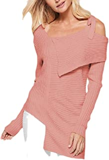 Womens Fashion One Shoulder Pullover Long Sleeve Knit Jumper Sweaters