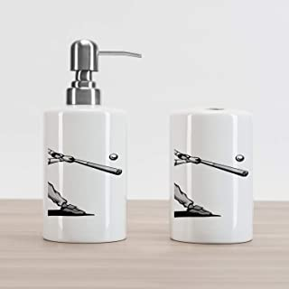 Lunarable Sports Soap Dispenser and Toothbrush Holder Set, Baseball Player Hitter Swinging at a Fast Pitch Athlete Sportsman Hand Drawn, Ceramic Bathroom Accessories, 4.5