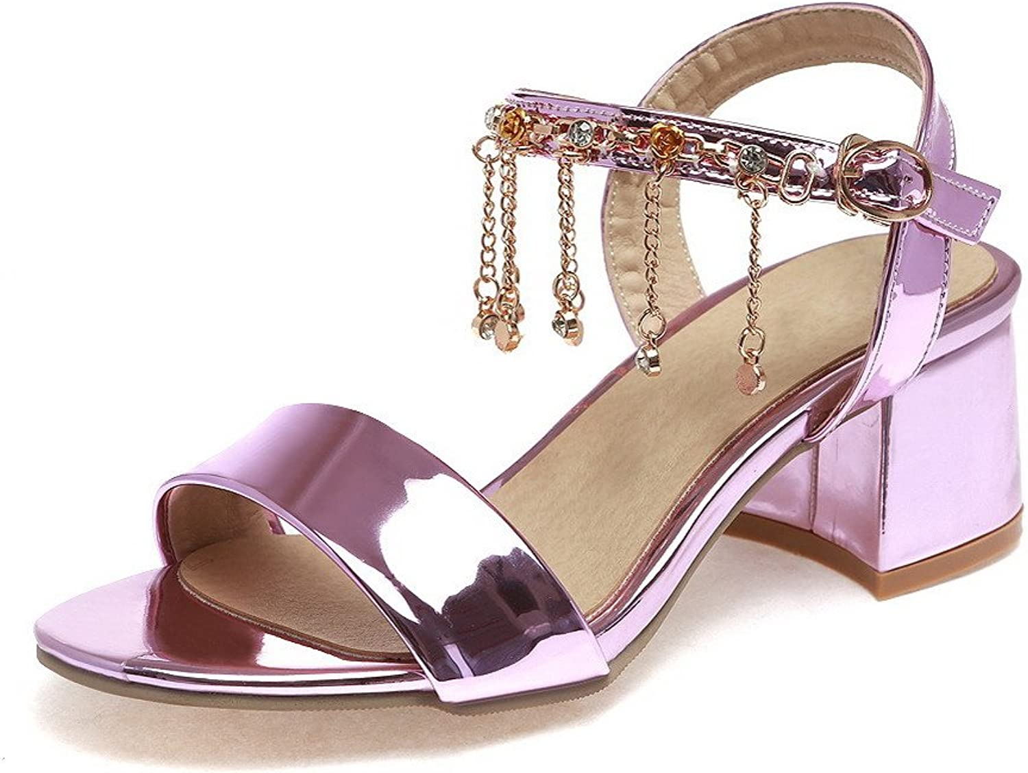 AmoonyFashion Women's Open Toe Kitten Heels Patent Leather Solid Buckle Sandals