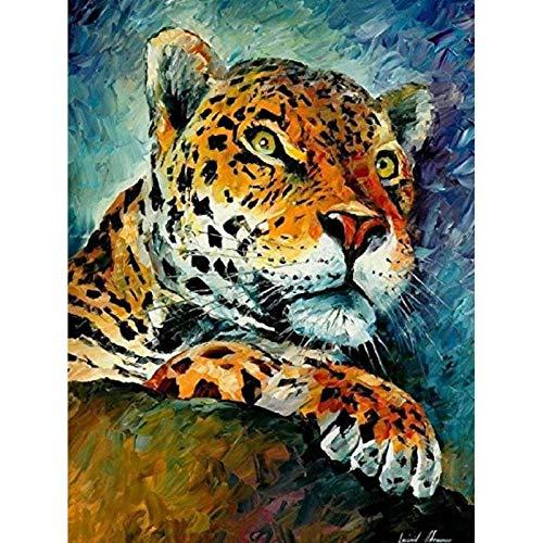 Lazodaer - Kit de pintura de diamante 5D por número, taladro redondo completo, bordado de diamante, pintura de punto de cruz, manualidades, decoración de tigre bajo las estrellas, 30 x 39,9 cm