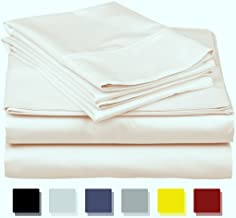 600-Thread-Count Best 100% Egyptian Cotton Sheets & Pillowcases Set - 4 Pc Ivory Long-staple Cotton Bedding California King Sheet For Bed,Fits Mattress Upto 18'' Deep Pocket, Soft & Silky Sateen Weave