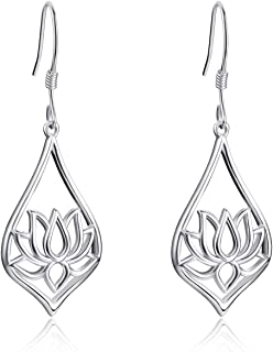 [ Sunflower/Lotus/Rose/Daisy/Hummingbird/Tree of Life ] 925 Sterling Silver Dangle Drop Earrings Jewelry Gifts for Women Birthday