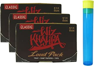 Wiz Khalifa Rolling Papers - Loud Pack 1 1/4 with Built in Tray, Tips and Poker - 3 Packs + Beamer Doob Tube