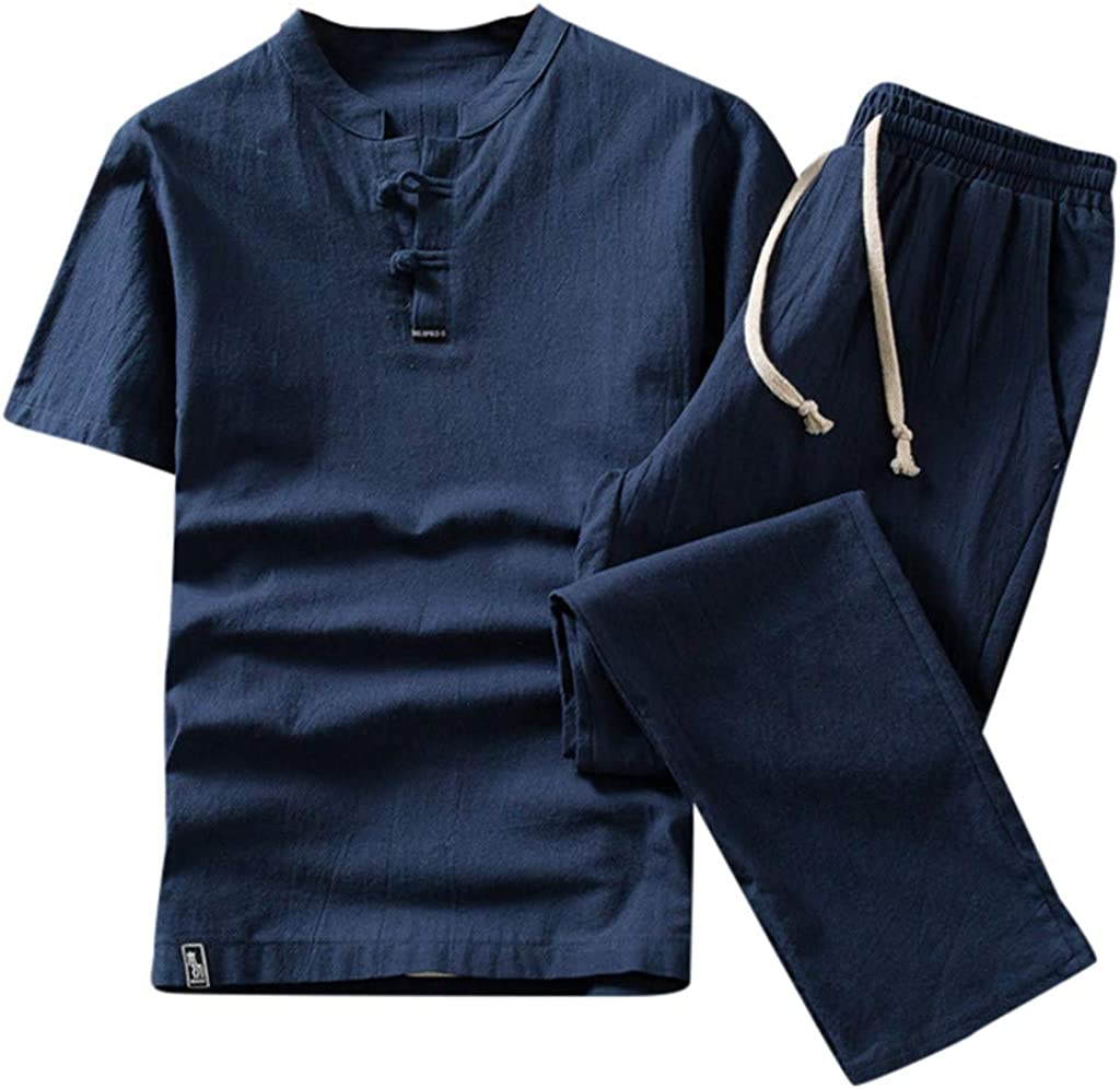 FORUU Cotton and Linen Fashion Suit for Men 2020 Summer New Short Sleeve Shirts with Long Pants Joggers Comfort Suit