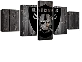 YPY-LK Wall Art Canvas Painting 5 Panel Frames for Paintings Decoration Canvas Oakland and Raiders Rugby Art Fashion 5 Panel Sport Modern Prints Wall Modular Picture Kids Room Poster