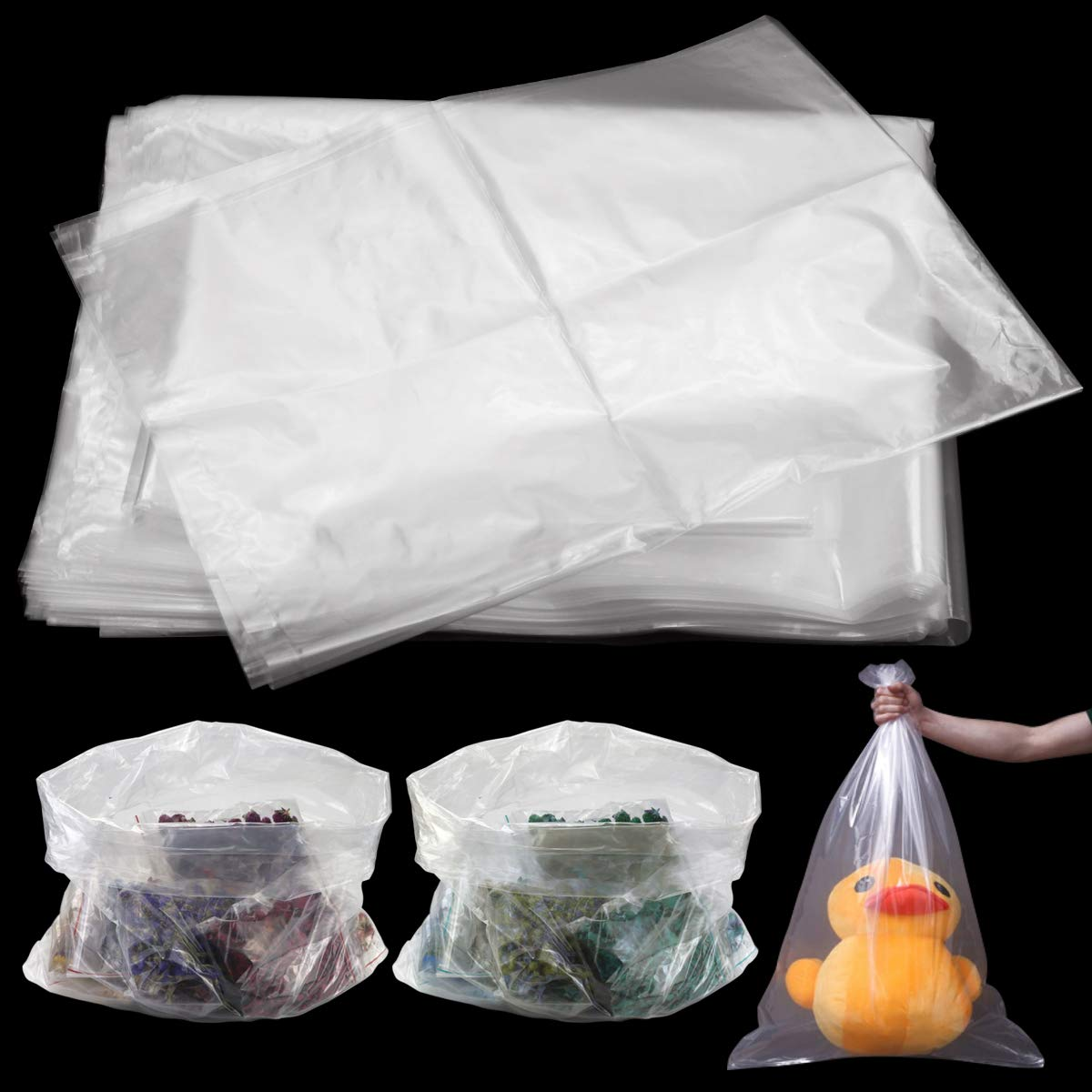 WFPLUS 100 Pack 18 x 24 inch Clear Flat Deluxe Poly Mil Plastic Bags 1 Choice