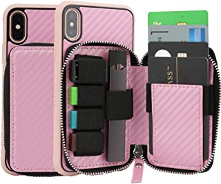 Designers iPhone Xs Zipper Wallet Case iPhone Xs Case with JUUL Carrying Case Credit Card Holder Slot Inner Leather Zipper Pocket Purse Handbag Case for Apple iPhone Xs/X (2018) - Carbon Pink