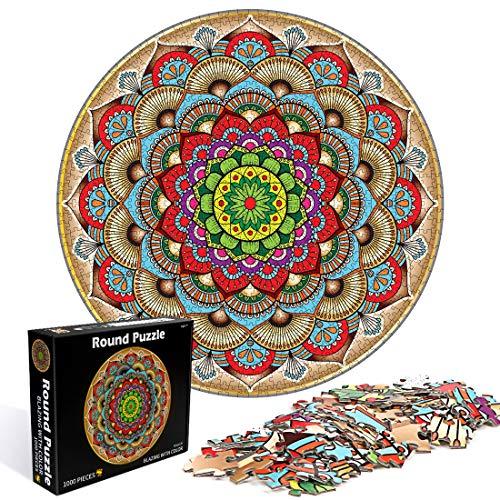 O-Kinee Puzzle Rond Créatif- Fleur Porte-Bonheur, 1000 Pièces Puzzle Rond, Intellectual Game Puzzle, Puzzle Adulte, Puzzles Classiques, Bricolage Puzzle Décoration pour Enfants Cadeau (Fleur)