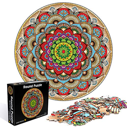 O-Kinee Redondo Puzzle, 1000 Piezas Rompecabezas Redondo, Puzzle Adultos, Puzzle Creativo, Rompecabezas para Niños, Rompecabezas Circular Juguete Intelectual Desafío Intelectual Juegos (Flor)