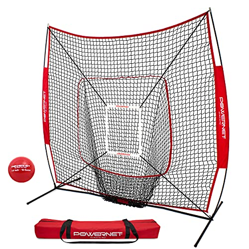 PowerNet DLX 7x7 Baseball Softball Hitting Net + Weighted Heavy Ball + Strike Zone Bundle | Training Set | Practice Equipment Batting Soft Toss Pitching | Team Color | Portable Backstop (Red)