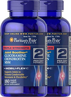 Puritan's Pride 2-Pack of Triple Strength Glucosamine, Chondroitin & MSM Joint Soother-180 Caplets (360 Caplets Total)