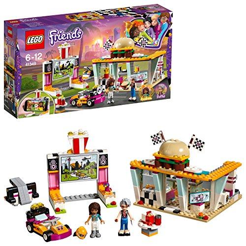 LEGO Friends - Cafetería de Pilotos, Juguete con Mini Muñecas y Kart para Crear y Construir Divertidas Carreras y Aventuras con Andrea y Pepper para Niñas y Niños de 6 a 12 Años (41349)