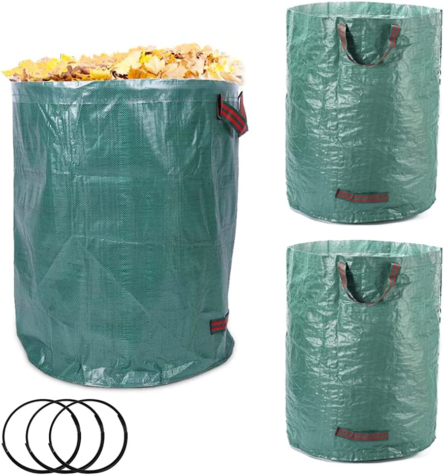 3 Pack 72 Gallon Reusable Bags, Garden Waste Bags, Reusable Storage Bags, Heavy Duty Yard Waste Bags, Leaf Bags, Lawn Bags