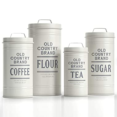 """Barnyard Designs Decorative Nesting Kitchen Canister Jars with Lids, White Metal Rustic Vintage Farmhouse Container Decor for Flour Sugar Coffee Tea Storage, Set of 4, Largest is 5.5"""" x 11.25"""""""
