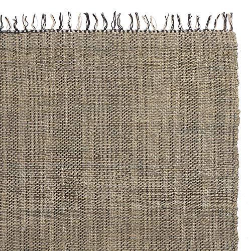 URBANARA Teppich Tihuri - 100% Jute 90x130 cm Handgewebt Graugrün Kette 100% Baumwolle mit Mehrfarbiger Fransenkante Care & Fair Zertifikat