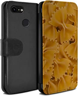 eSwish PU Leather Wallet Flip Case/Cover for Google Pixel 3 / Farfalle Pasta Design/Food Collection