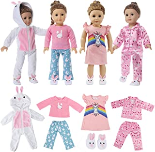 7 Pc Girl Doll Clothes Pajamas for American 18 Inch Doll Clothes and Accessories - 4 Set of Bunny Pajamas, Includes White Onesie, Pink Silky Pajama, Pink Nightgown, Pink&Blue PJs and Bunny Slippers