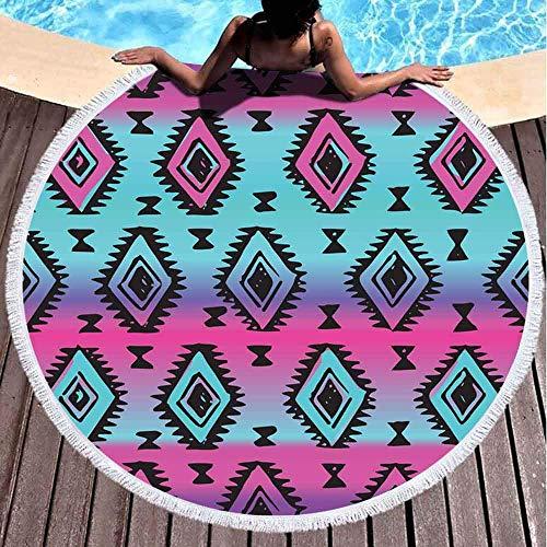 Hancal Runde Strandtücher für Erwachsene, Bunte Neon-Stammes-Muster Frischer Sommer geometrischer Druck Ethnischer Hi-Pster-Hintergrund Azteken 59 '