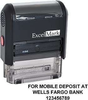 ExcelMark for Mobile Deposit at Custom Rubber Stamp – 3 Lines – Bank Deposit Stamp (A1848)