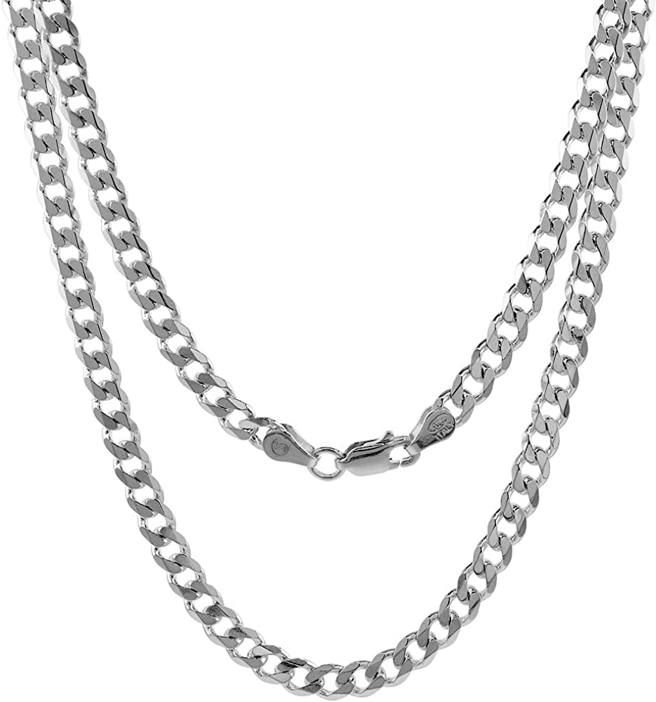 Sterling free shipping Silver 4-8mm Curb Cuban Fre Link Ranking TOP3 Chain Necklaces Nickel
