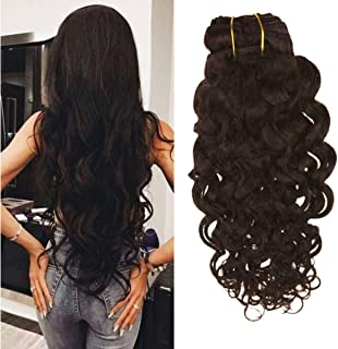 Ugeat 10 inch Darkest Brown Clip in Human Hair Extensions 120Gram 7Pcs Clip on Natural Hair Extensions 100% Human Hair Natural Wave