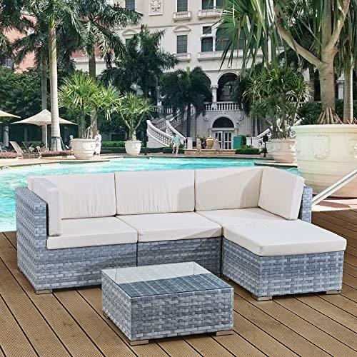 Avril Paris 4 seats outdoor sofa rattan garden furniture set - Light grey - CANNES