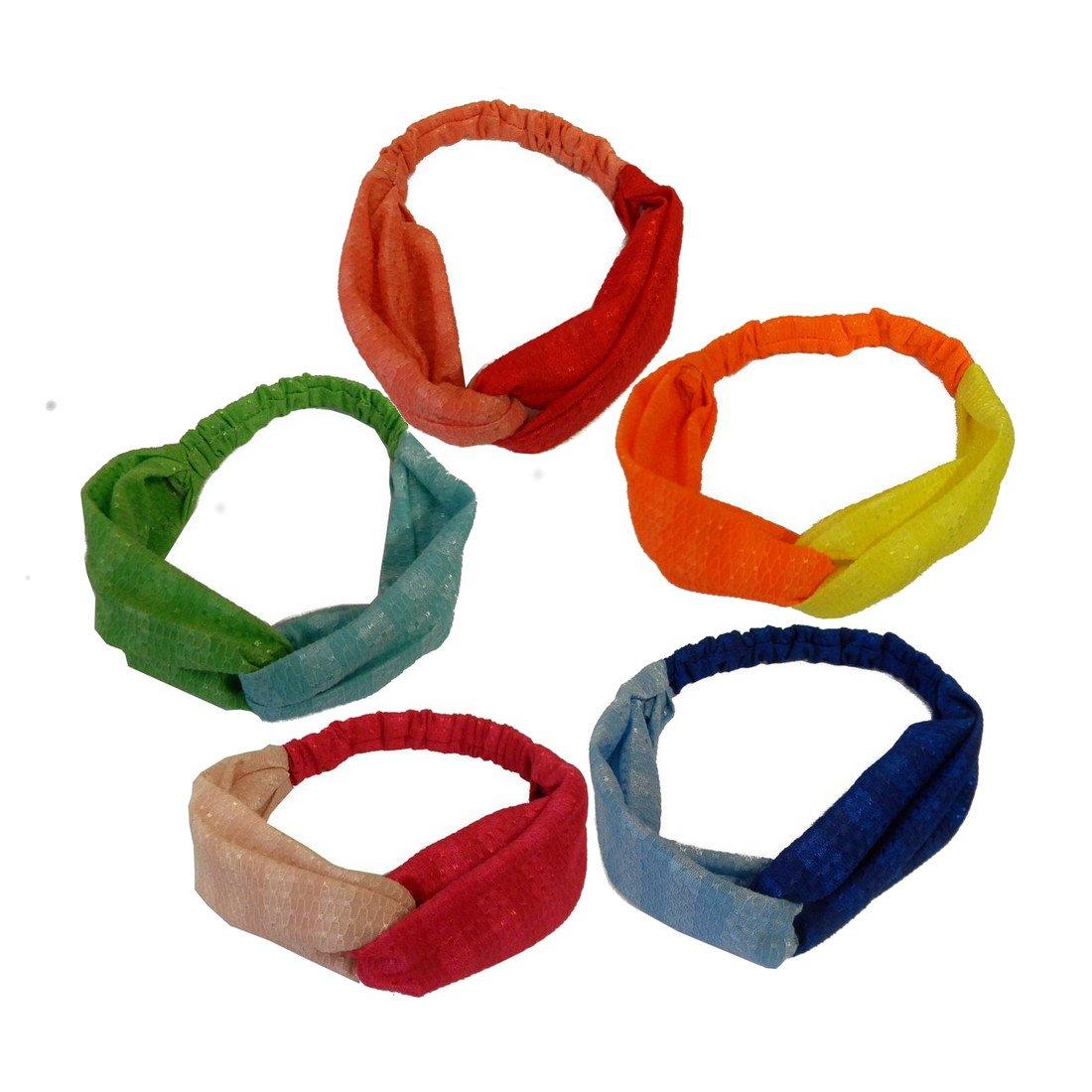 5 Two Tone Textured Turband Headband Boho Head Wraps