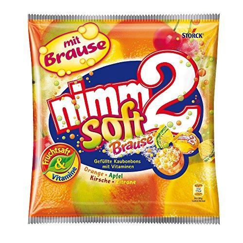 nimm2 soft Brause – (10 x 195g Beutel) – Ploppende Bonbons mit aufregender Brause-Füllung als Naschspaß für dieganze Familie