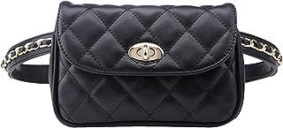 Goodbag Boutique Fashion Women Waist Bag Faux Leather Embroider Lattice Pattern Mini Fanny Pack (Black-M(Belt 120cm))