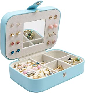 Homeanda Aque Blue PU Earring Ring Neckalce Jewery Case Box Organizer with Mirror for Travel or Home Use (1#Aqua Blue)