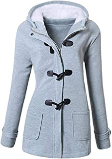 Gijoki Women Outdoor Coats Hooded Horn Leather Jacket Buckle Solid Outwear Down